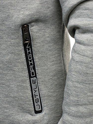BOLF Kapuzenpullover Sweatshirt Hoodie Kapuze Pullover mit Reißverschluss Mix 1A1 Grau_J17