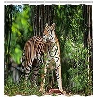 Animal Shower Curtain Cortina de ducha de color acuarela con diseño de tigre y elefante, tamaño 66 por 72 pulgadas