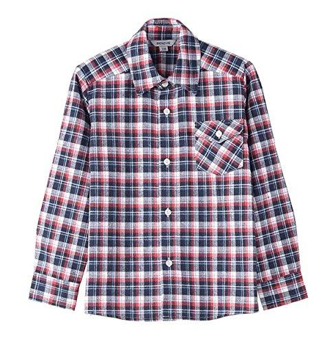 Bienzoe Jungen Warmer Flanell-Knopf Unten Langes Hülsen-Plaid-Hemd Rot Größe 7/8 (Jungen-plaid Flanell)