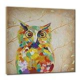 Gbwzz 100% handgemalte Ölgemälde Tier Bunte Eule mit gestreckten Rahmen Wandkunst für Home Decor (24 x 24 Zoll), 50 x 50 cm