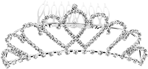 Anbau Women Girls Ladies Fashionable Rhinestone Tiara Headwear Hair Decor Wedding Birthday Party Supplies Silver