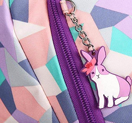 FZHLY Grande Capacità Pratica Student Travel Zaino Di Modo Di Stampa Zaino,Purple PinkBlue