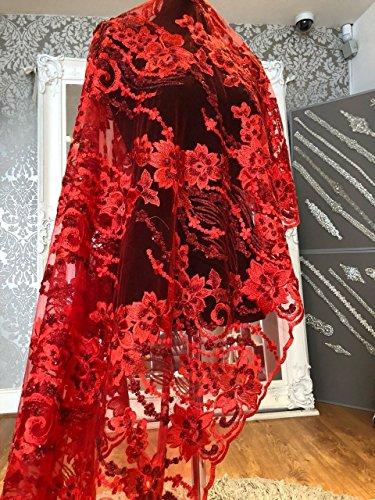 J3208floreale da sposa/abito da sposa in pizzo ricamato con paillettes fiore tessuto scallop trim applique 140larghezza rosso, silver, 3 yard