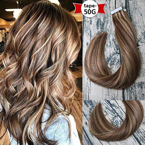 Voller Glanz Band In Haar Extensions 50 Gramm Kleber Auf Haar Balayage Farbe 100% Remy Menschenhaar Extensions Klebeband Auf Haar Haarverlängerung Und Perücken