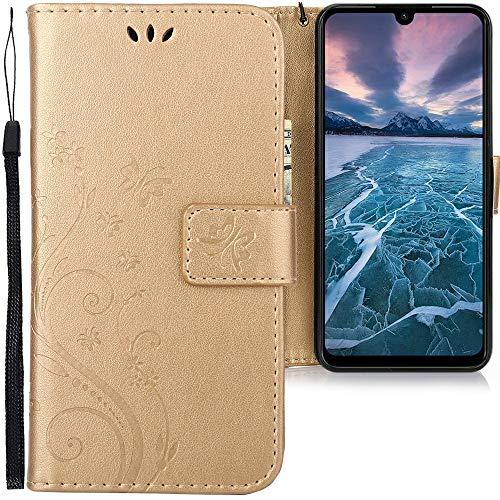 CLM-Tech Funda Compatible con Xiaomi Redmi Note 7, Carcasa Cuero sintético con Soporte y Ranuras para Tarjetas, Mariposas Oro