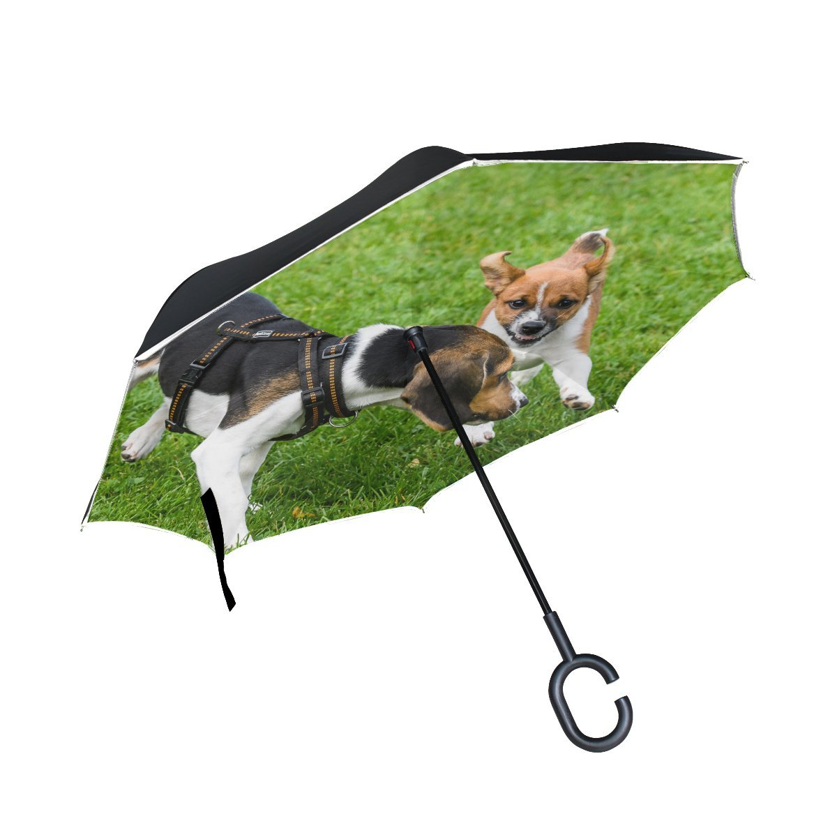 JOCHUAN Animal Dog Affenpinscher Brown Blackandwhite Mix Fluffy Puppy Pet Inverted Umbrella Large Double Layer Outdoor Rain Sun Car Reversible Umbrella