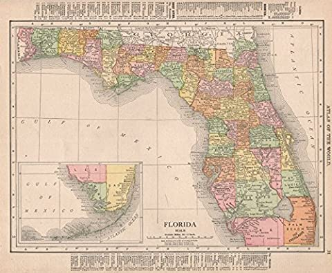 Florida state map showing counties. RAND MCNALLY - 1912 -