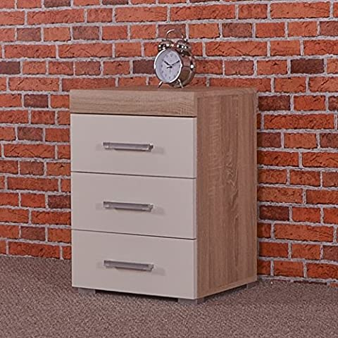 3 Drawer White & Sonoma Oak Bedside Cabinet / Table (3 Draw Chest) Bedroom Furniture