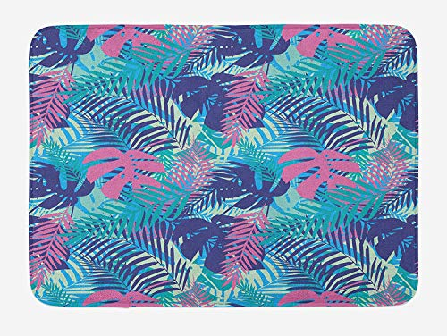 OQUYCZ Leaf Bath Mat, Digital Neon Vivid Colored Island Oceanic Flowers and Leaves, Plush Bathroom Decor Mat with Non Slip Backing, 23.6 W X 15.7 W Inches, Pink Turquoise Dark Blue and Purple