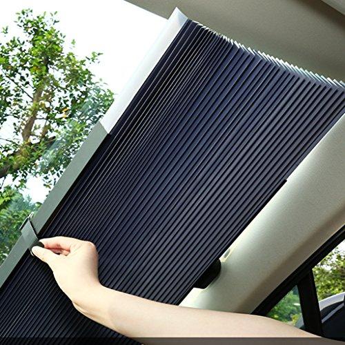 JIBO Auto Sonnenschutz Sommer Sonnenschutzmittel Sonnenschutz Sonnenblende Auto-Einziehbare Front Sonnenschutz Visier Schatten Matte Frontscheibe (150*65Cm Dehnbar),65Cm