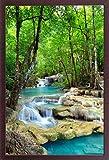 Wasserfälle - Erawan Wasserfälle im Kanchanaburi Nationalpark in Thailand - Blue Water - Natur Paradies Poster - Größe 61x91,5 cm + Wechselrahmen, Shinsuke® Maxi MDF Walnuß, Acryl-Scheibe