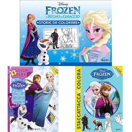 Frozen libri attivi: il regno di ghiaccio (storie da colorare) + frozen (con adesivi) + crea un mondo di ghiaccio (con adesivi)