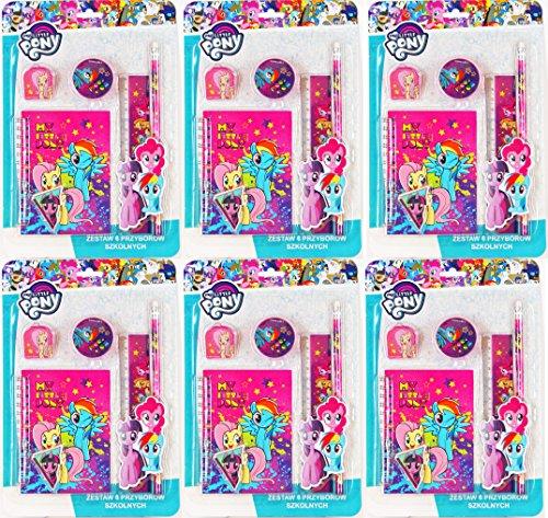 MLP 36 TLG. My Little Pony Set - Geburtstags-Set - Mitgebsel für Kindergeburtstag / Partytüten - 6 Schreibsets für 6 Kinder - Geburtstags-Party