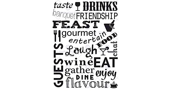DRINK FOOD WINE KITCHEN WORDS B/&W QUOTE MOTIVATION TYPOGRAPHY POSTER PRINT QU033