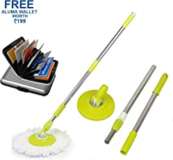 Hugo Mop Rod Stick Stainless Steel with Plate and Microfiber Mop Stick & 1 Mop Head Mop 360° Rotate S.S Rod Pocha