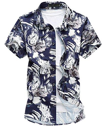 Herren Freizeit kurzarm Blattaufdruck-Hemd Urlaub Sommerfest Blau