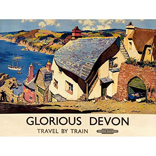 Wee Blue Coo LTD Travel Tourism Transport Railway Glorious Devon Village England UK Art Print Poster Wall Decor Kunstdruck Poster Wand-Dekor-12X16 Zoll - Art Print Poster