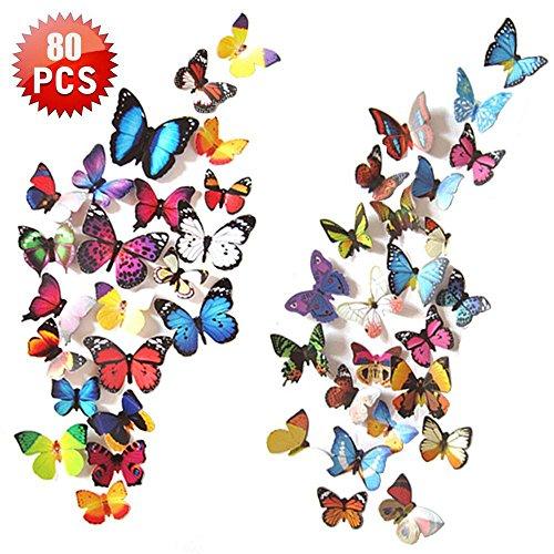 TianranRT Schmetterling 80pcs 3D Schmetterling Aufkleber Kunst Design Aufkleber Wand Abziehbilder Kinder Zuhause Dekor Magnet