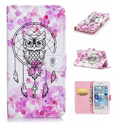 iPhone 6 Plus Custodia, iPhone 6S Plus Cover, JAWSEU iPhone 6/6S Plus Custodia Pelle Portafoglio Lusso 3D Modello Design Creativo PU Leather Wallet Flip Cover Custodia per iPhone 6S Plus Copertura con Gufo Campanula