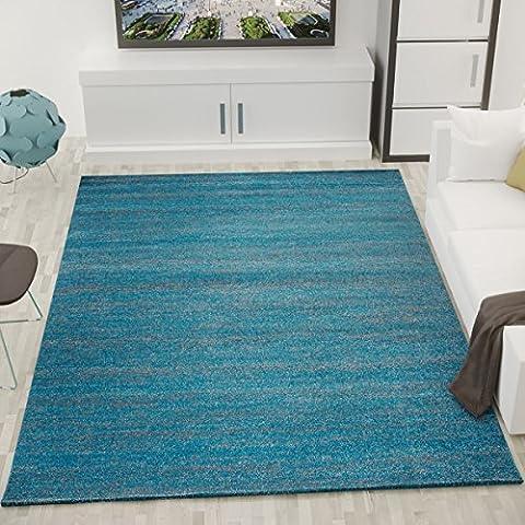 Teppich Modern Wohnzimmer Türkis Kurzflor Meliert Farbecht Pflegeleicht Schadstoff Geprüft - VIMODA, Maße:200 cm x 290