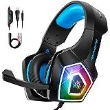 Bovon Cuffie Gaming per Xbox One PS4, Cuffie con Microfono a Cancellazione di Rumore e RGB Luce LED, Cuffie Gioco Over-Ear co