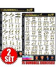 Eazy How to Haltères exercice entraînement Bannière Poster Grand 51x 73cm train Endurance, tonalité, construire de Solidité et de Muscle Home Gym Chart, Complete Set