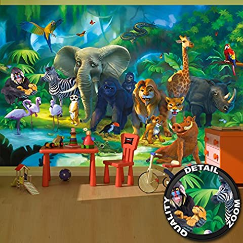 Wall Mural Kid's Room Jungle Animals Mural Decoration Jungle Animals Zoo Nature Safari Adventure Tiger Lion Elephant Monkey I paperhanging Wallpaper poster wall decor by GREAT ART (132.3 Inch x 93.7 Inch / 336 x 238 cm)