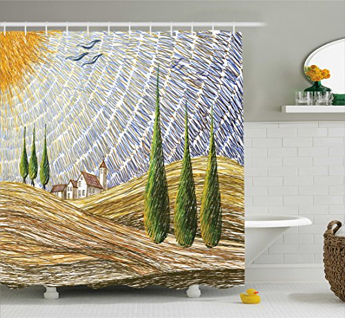 ng, Van Gogh Art Italienische Ländliche Felder mit Europäische Land Schafts Digitaler Malerei Druck, Blickdicht aus Stoff mit 12 Ringen Waschbar Langhaltig Hochwertig, 175 X 200 cm (Malerei Ideen Für Kinder)