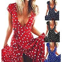 Sannysis falda mujer vestidos largos de verano, Lunares rojo