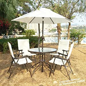 HomeStore Cushioned Garden outdoor Dinning furniture 6pcs set, 4 x folderable armchairs, 1 round table with parasol - Ivory colour