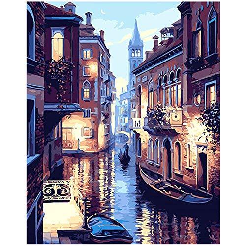 Sunnay Diamond Painting, Burg Magic Dream 30 * 40CM 5D Diamant Set Zeichnung Full Drill Voller Großer DIY Stickerei Wohnung Modern Dekoration (Venedig Wasserstadt, 30 x 40 cm)