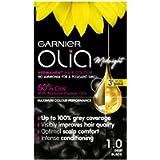 Garnier Olia Black Permanent Hair Dye, Up to 100% Grey Hair Coverage, No Ammonia, 60% Oils - 1.0 Deep Black