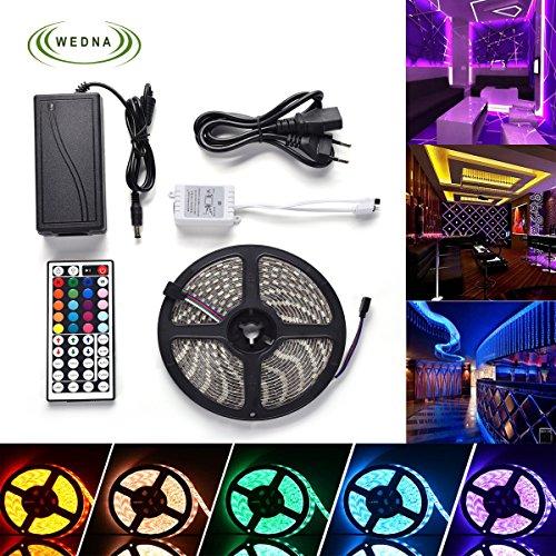 Wedna LED Strip Licht 5M 300 LED SMD 5050 RGB LED Streifen Wasserdicht IP65 Bunt Lichtleisten 12V 5A Netzteil mit 44 Tasten IR Fernbedienung