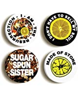 "4 x ""I AM THE RESURRECTION"" INDIE BADGES (Size 1inch/25mm diameter) SELL MY SOUL, SUGAR SPUN SISTER, MADE OF STONE"