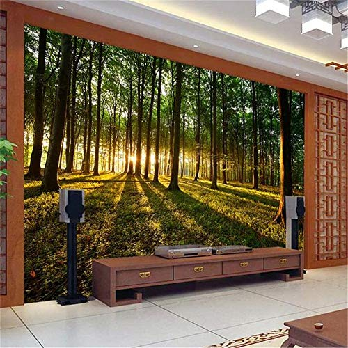 Liwenjun Tapezieren Sie Wandaufklebergrünwaldsonne 3D malendes Sofa Fernsehhintergrundwand, 400 * 280CM