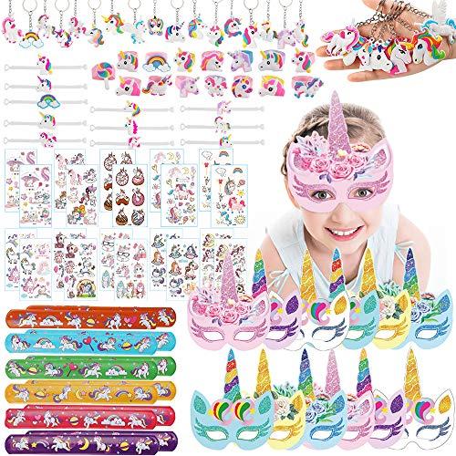 MEckily 87 Stück Einhorn Party Mitgebsel Kinder,Mitgebsel Kindergeburtstag Set - Einhorn Papier Masken Schlüsselanhänger Armband Ring Tattoos Schnapparmband,Kinder mädchen Party gastgeschenke
