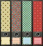 4er Set Ordnerrücken für breite Ordner Retro Pattern Ordner Aufkleber Etiketten Deko 474