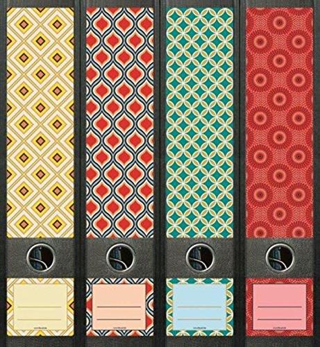 Ordnerrücken breit 4er Set Ordner Retro Pattern Ordner Aufkleber Etiketten Deko 474