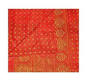 Peau-Rouge sari millésime jeux de robe art soie coton tissés à la main saree recycle tissu 5YD materiel les femmes enroulent robe de couture