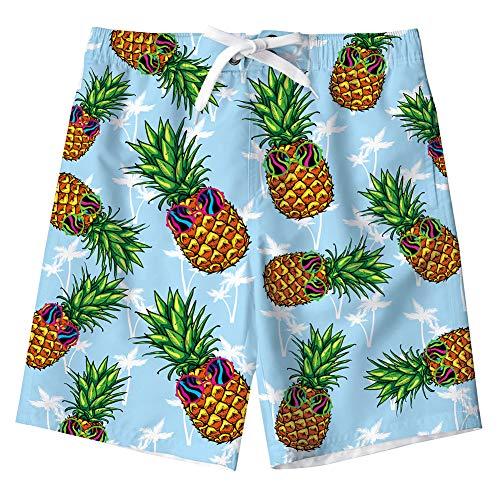 Idgreatim Jungen Summer Stripe Beach Kurze, elastische Taille mit Tunnelzug mit Zwei Taschen -