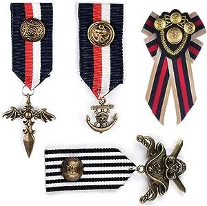 Deer Platz 4 Pezzi Medaglia Badge, Medaglie Militari, Militare Medaglia Badge, per Ceremonia Apertura Festa Costume, Costume da Donna Cappotto Giacca Uomo