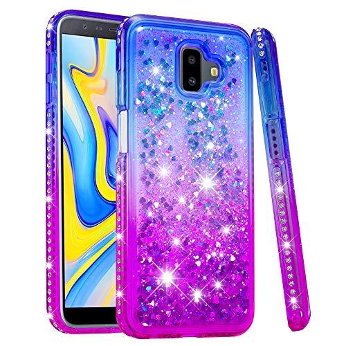 HopMore Compatibile con Cover Samsung Galaxy J6 Plus (J6+) 2018 Silicone Morbido Brillantini Trasparente con Disegni Belle Custodia Trasparenti Morbide Case Protettiva Brillante Glitter - Blu Viola