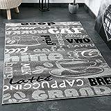 Teppich Modern Flachgewebe Sisal Optik Küchenteppich Küchenläufer Coffee Grau Weiss Schwarz Töne - VIMODA, Maße:120 x 170 cm