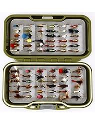 GS Fly Box Set mixtes truite Pêche à la mouche mouches Taille 12x MIXTES sèche pipi Nymphe et fermoirs Flash X 72mouches Superbe Petit cadeau de pêche de Noël ou idée de cadeau