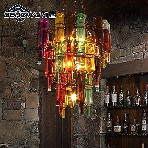 ZJM Couleur rétro scandinaves créatifs bouteille vin vintage lustre café bar lustre industriel personnalité , dw-D0773-6 trois couches