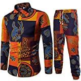 VEMOW Sommer Herbst Winter Mens Casual Langarm Shirt Business Täglich Sport Dating Coole Hübsch Slim Fit Shirt Print Bluse Top + Hosen(Gelb, EU-46/CN-L)