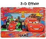 3-D Effekt Unterlage - ' Disney Cars Lightning McQueen ' - 43 cm * 30 cm incl. Namen - Tischunterlage / Platzdeckchen / Malunterlage / Knetunterlage / Eßunterlage - Auto Francesco Bernoulli / Mc Queen - für Jungen / Kinder / kleine Schreibunterlage