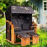 Möbelcreative Strandkorb Ostsee XXL Volllieger 2 Sitzer - 120 cm breit - braun grau inklusive Schutzhülle, ideal für Garten und Terrasse
