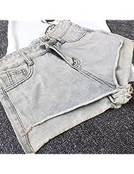 LEYAN-Borde con flecos de ocio retro de corta y larga en frente una mujer denim shorts de talle alto,L