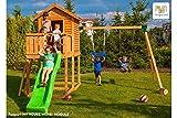 Fungoo Spielturm MY HOUSE mit MOVE+ Modul mit Rutsche, doppelter Schaukel, Leiter mit Metallsprossen und geschlossenem Spielhaus - Blau